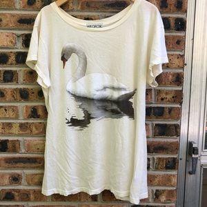 Wildfox Distressed Swan Tee L